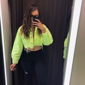Zara neon cropped jacket